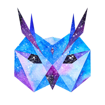 Cosmic polygonal owl. Hand drawn watercolor illustration with galaxy inside.