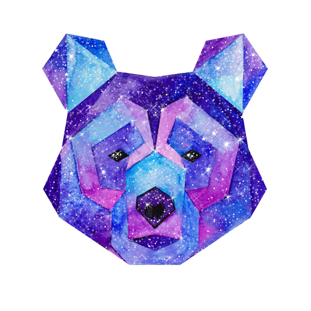 outer clothing: Cosmic polygonal bear. Hand drawn watercolor illustration with galaxy inside.