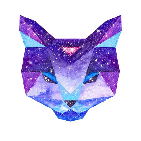 우주 다각형 고양이. 안에 은하계 손으로 그린 수채화 그림.