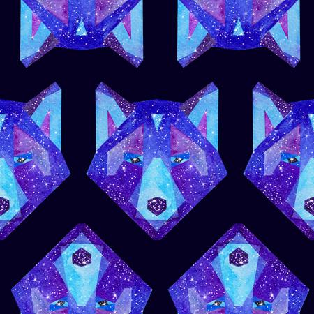 우주 다각형 늑대. 안에 은하계 손으로 그린 수채화 그림. 검은 원활한 패턴. 스톡 콘텐츠