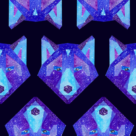 Cosmic polygonal wolf. Hand drawn watercolor illustration with galaxy inside. Black seamless pattern.