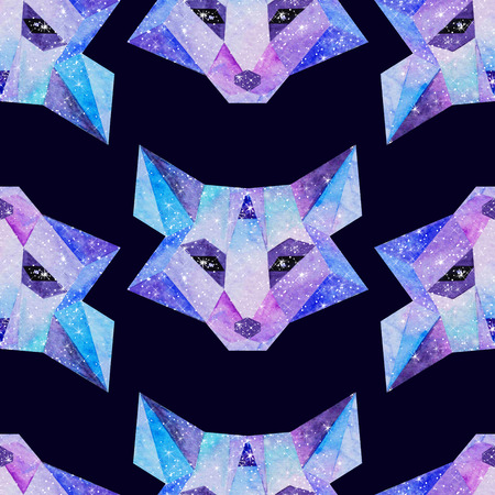 Cosmic polygonal fox. Hand drawn watercolor illustration with galaxy inside. Black seamless pattern.
