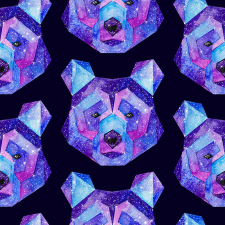 outer clothing: Cosmic polygonal bear. Hand drawn watercolor illustration with galaxy inside. Black seamless pattern. Stock Photo