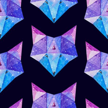 우주 다각형 여우. 손 안에 은하와 수채화 그림을 그려. 블랙 원활한 패턴입니다.