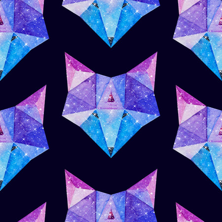 Cosmic polygonal fox. Hand drawn watercolor illustration with galaxy inside. Black seamless pattern.