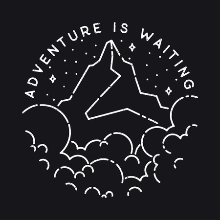 waiting line: Vector vintage landscape with mountain peaks end graphic elements. Adventure is waiting. Motivational and inspirational typography poster with quote. Line illustration