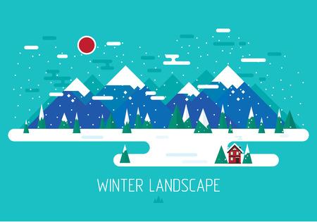 Vector winter landscape. Mountains illustration. Flat design. Nature background. Çizim