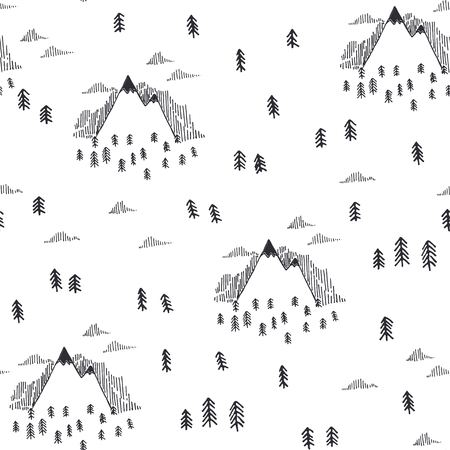 Travel  illustration with cartoon seamless pattern.  Black and white doodle style. Illustration with mountain peaks end graphic elements Vectores