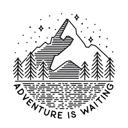 vintage landscape with mountain peaks end graphic elements. Adventure is waiting. Motivational and inspirational typography poster with quote. Line design
