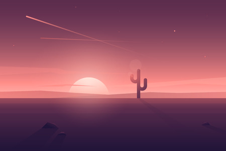 Vector modern flat landscape with  lonely cactus and long shadow. Illustration with sunset view in purple, violet and pink colors. Illustration