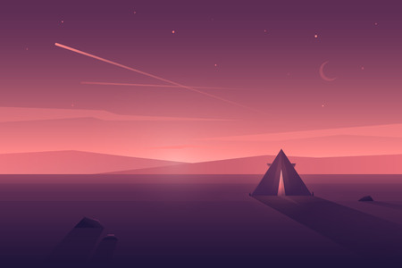 Vector modern flat landscape with tent, light inside and long shadow. Illustration with sunset view in purple, violet and pink colors.