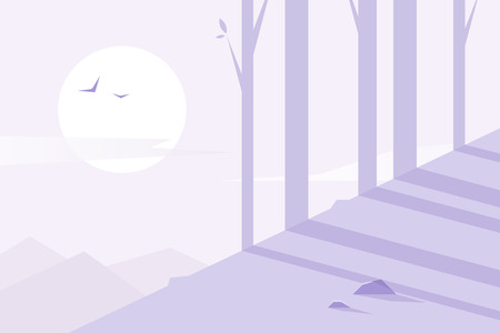 Flat design. Vector illustration - morning forest