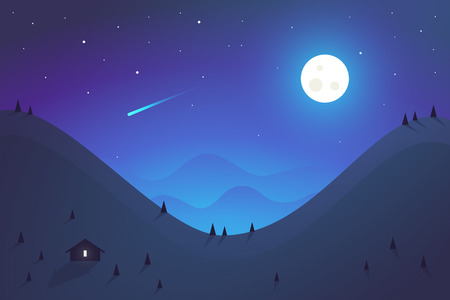 Flat design. Vector illustration - night mountains landscape
