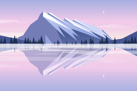Flat design. Vector illustration - sunset in the mountains with reflection in the lake