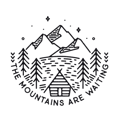 Inspirational vector illustration - The mountains are waiting