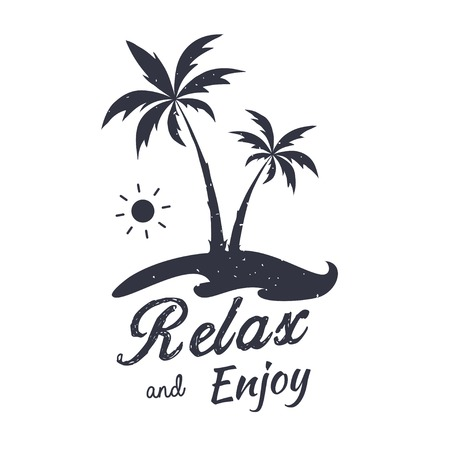 Palm vector illustration. Relax and Enjoy. Summer graphic emblem. Design for t-shirt.