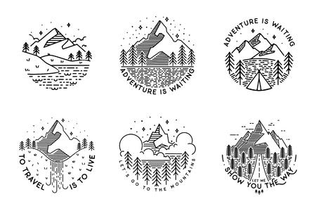 Travel set with emblems. Summer vector illustrations. Design for t-shirt Illustration