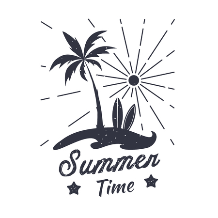 Palm vector illustration. Summer time. Summer graphic emblem. Design for t-shirt