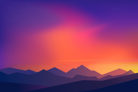 Mountains landscape with sunset. Travel vector illustrations