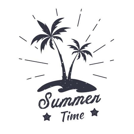 Palm vector illustration. Summer time. Summer graphic emblem. Design for t-shirt