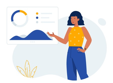 Person and diagrams. Hero illustration concept for website. Creative landing page design template.