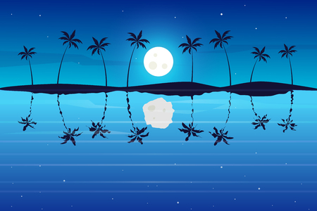 Tropical night landscape. Colorful seascape. Adventures and travel background Illusztráció