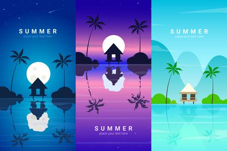 Vector banners set with summer resort. Background illustration Illustration