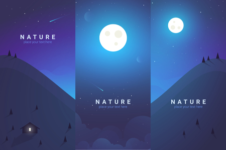 Vector banners set with Moon. Background cosmos illustration Illustration