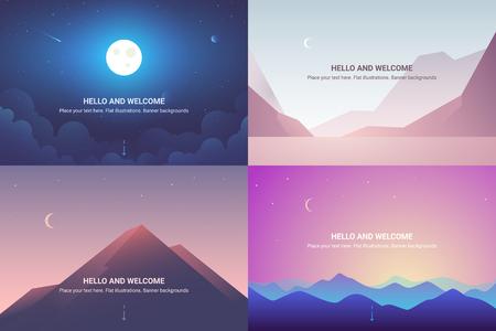 Vector banners set with polygonal landscape. Background illustration