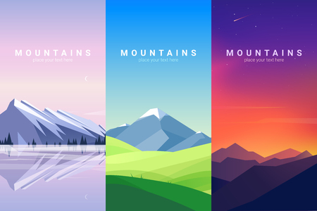 Vector banners set with mountains landscape. Background illustration