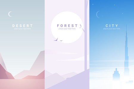 Vector banners set with desert, forest, city landscape. Background illustration Ilustracja