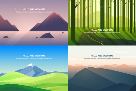 Vector banners set with polygonal landscape. Background illustration