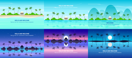 Vector banners set with summer resort. Background illustration Ilustracja