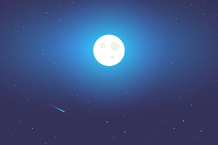 Full Moon background illustration. Space view Illustration