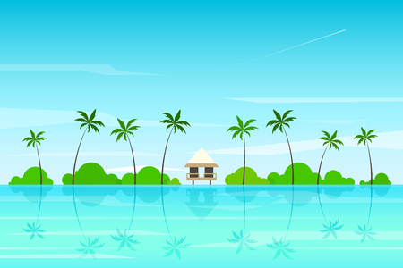 Tropical landscape. Colorful seascape. Adventures and travel background