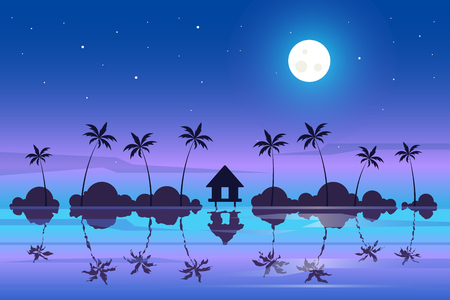 Tropical night landscape. Colorful seascape. Adventures and travel background Illustration