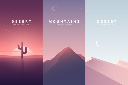 Vector banners set with desert and mountain landscape. Background illustration