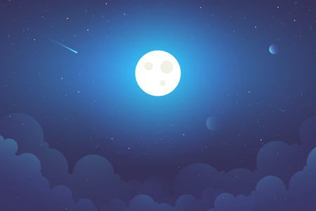 Full Moon with clouds background illustration. Space view