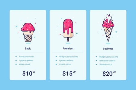 Vector pricing table template with ice-cream illustration