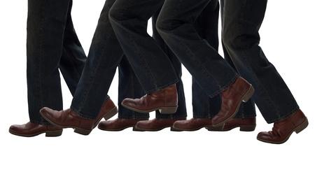 Legs walking one step forward
