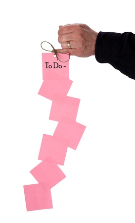 finger bow: To Do List Tied to Finger with String Bow Stock Photo