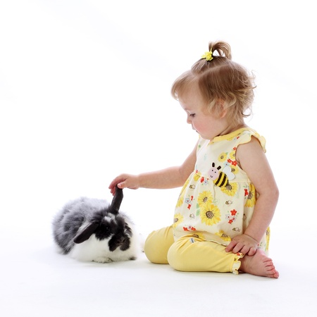 A young girl plays with a bunny rabbits ear showing curiosity and wonder on a white background Stock Photo