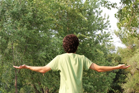 A youth looks to the heavens for guidance