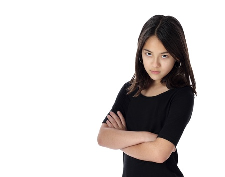 An angry young girl demands attention and recognition with attitude