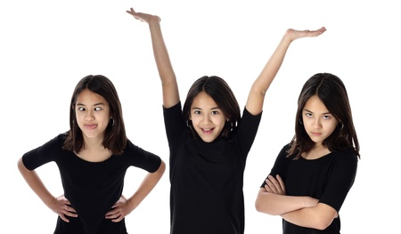 A young girl expresses various expressions of her personality