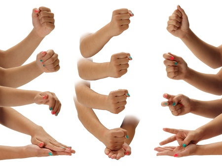 A progressive look at the game of paper scissors rock Stock Photo