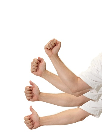 A clenched fist progresses into a thumbs up signal on white with room for your text