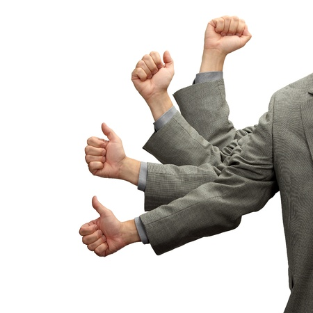 signifies: A hand in motion signifies corporate advancement isolated on white