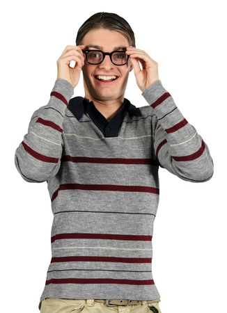 A nerdy guy smiles in gleeful surprise Stock Photo