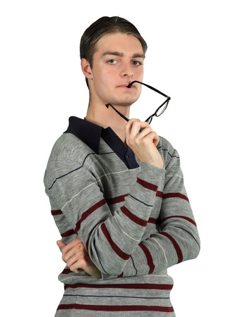 A brainiac attempts to solve an difficult problem Stock Photo